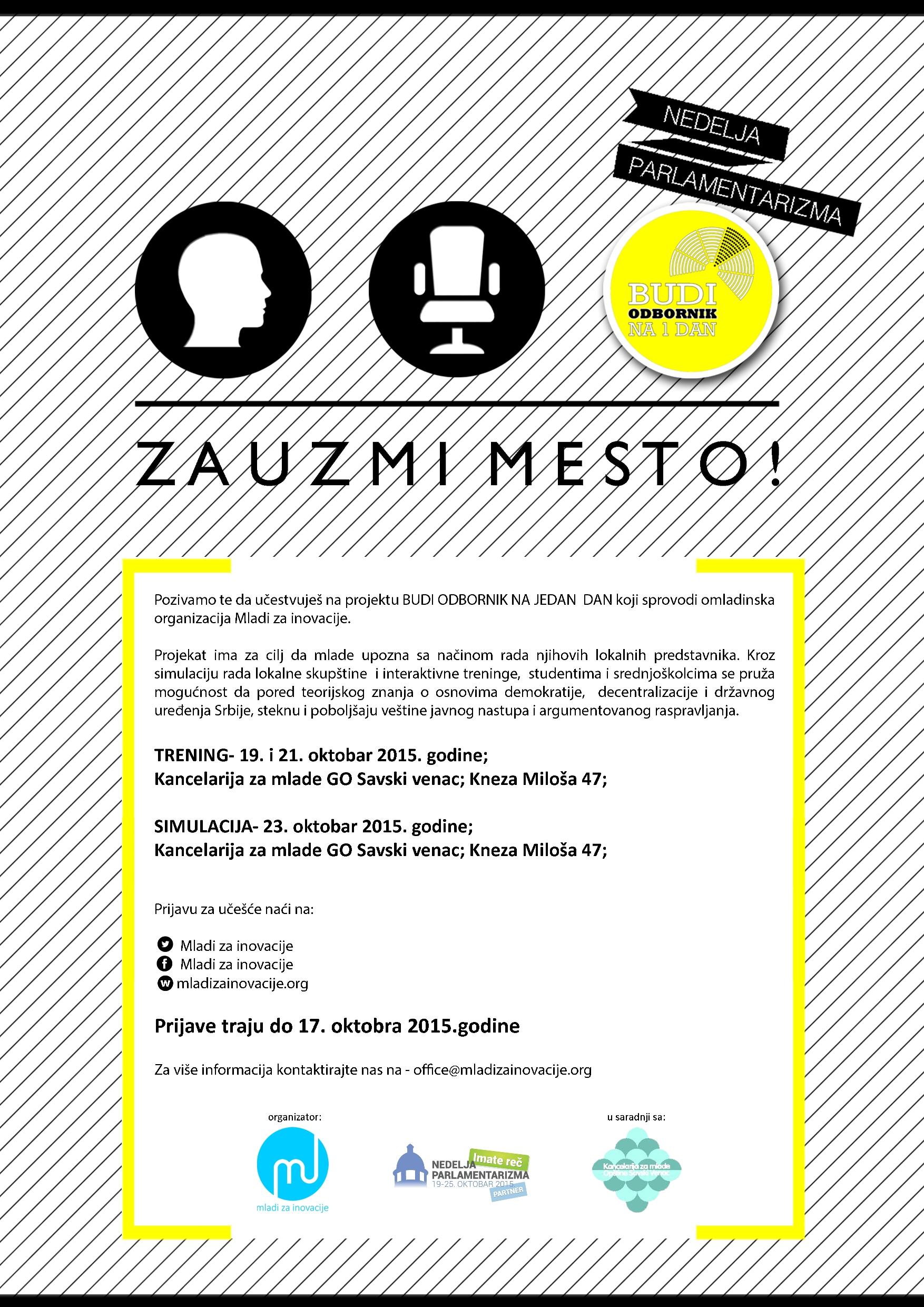 Plakat za Budi odbornik Savski Venac