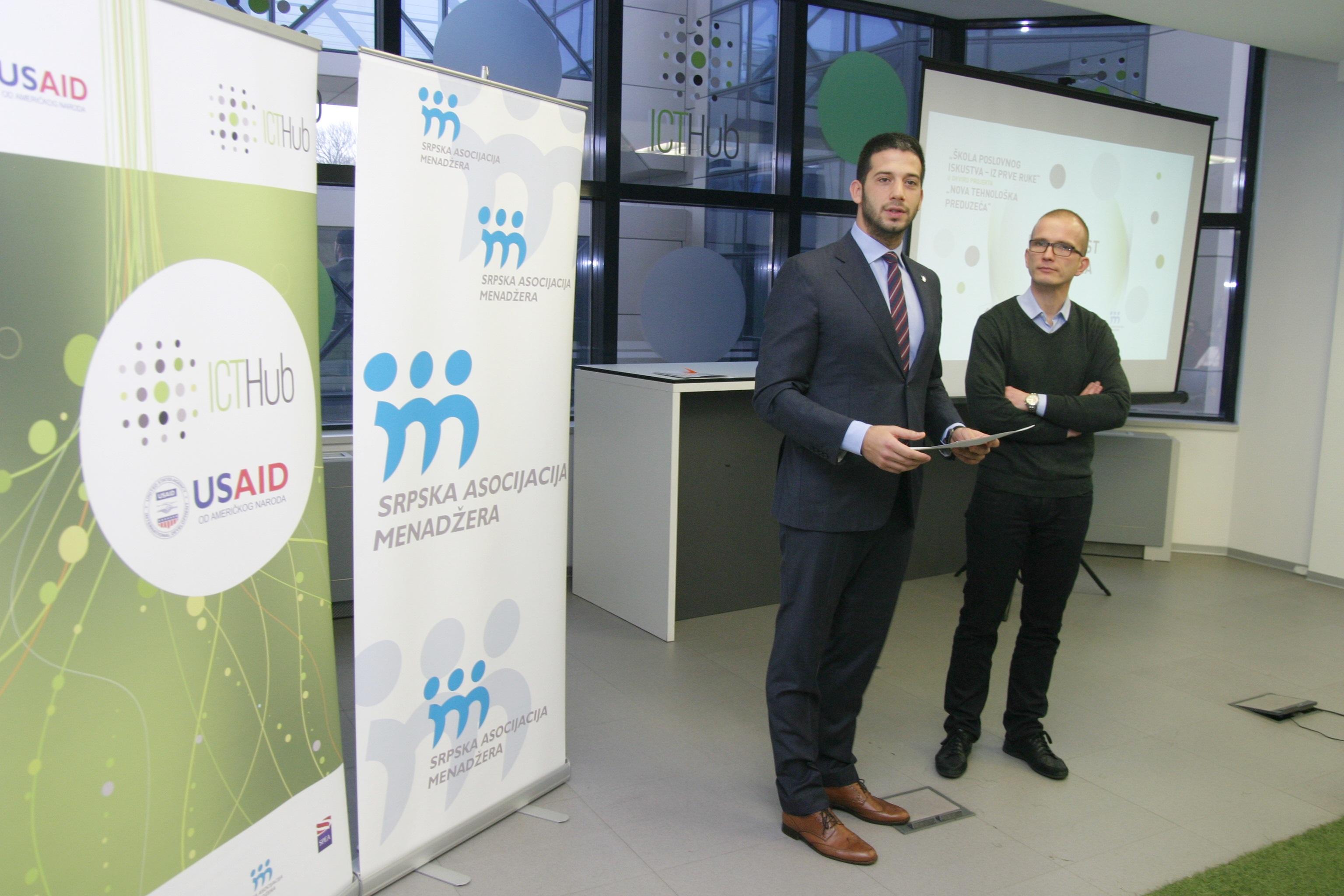 Ministar omladine i sporta, Vanja Udovicic, sa izvrsnim direktorom ICT Huba, Kostom Andricem